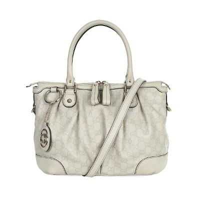 GG pattern leather point bag white